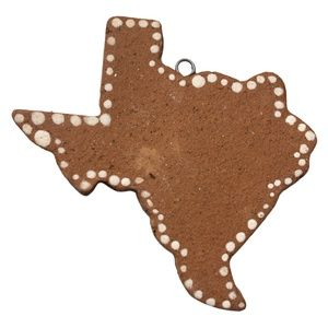Handmade Clay Pottery State of Texas Ornament